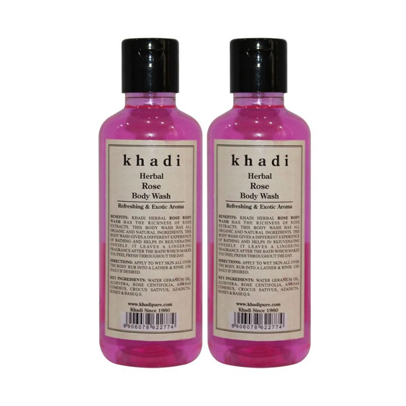 Buy Khadi Herbal Rose Body Wash - 210ml (set Of 2) online