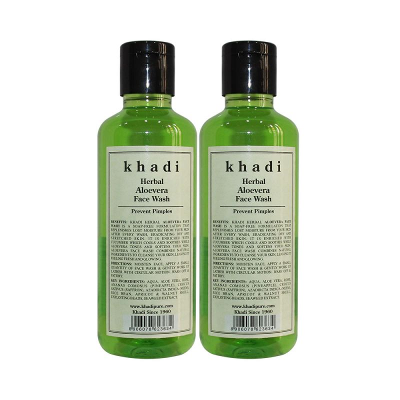 Buy Khadi Herbal Aloevera Face Wash - 210ml (set Of 2) online