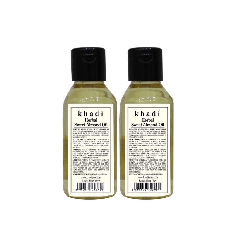 Buy Khadi Herbal Sweet Almond Oil - 100ml (set Of 2) online