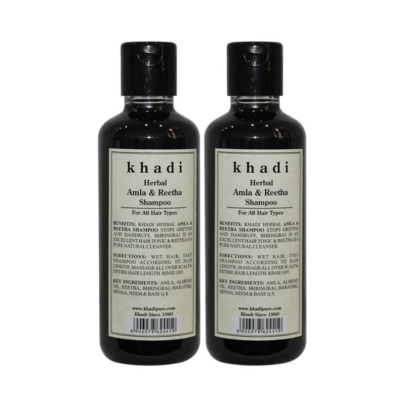 Buy Khadi Herbal Amla & Reetha Shampoo - 210ml (set Of 2) online