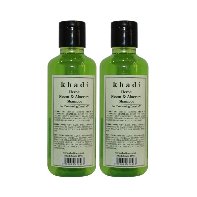 Buy Khadi Herbal Neem & Aloevera Shampoo - 210ml (set Of 2) online
