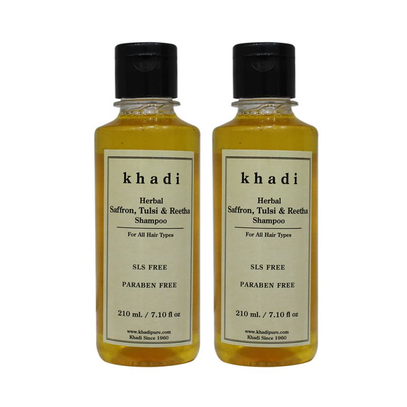 Buy Khadi Herbal Saffron, Tulsi & Reetha Shampoo Sls-paraben Free - 210ml (set Of 2) online