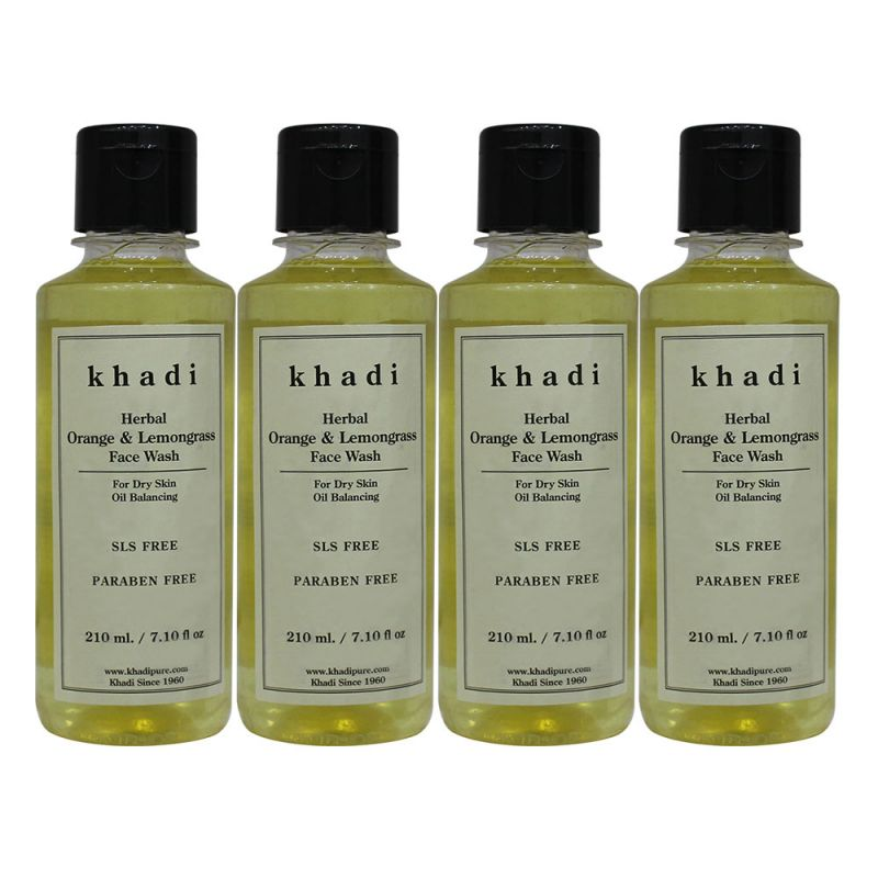 Buy Khadi Herbal Orange & Lemongrass Face Wash Sls-paraben Free - 210ml (set Of 4) online