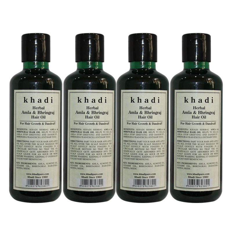 Buy Khadi Herbal Amla & Bhringraj Hair Oil - 210ml (set Of 4) online