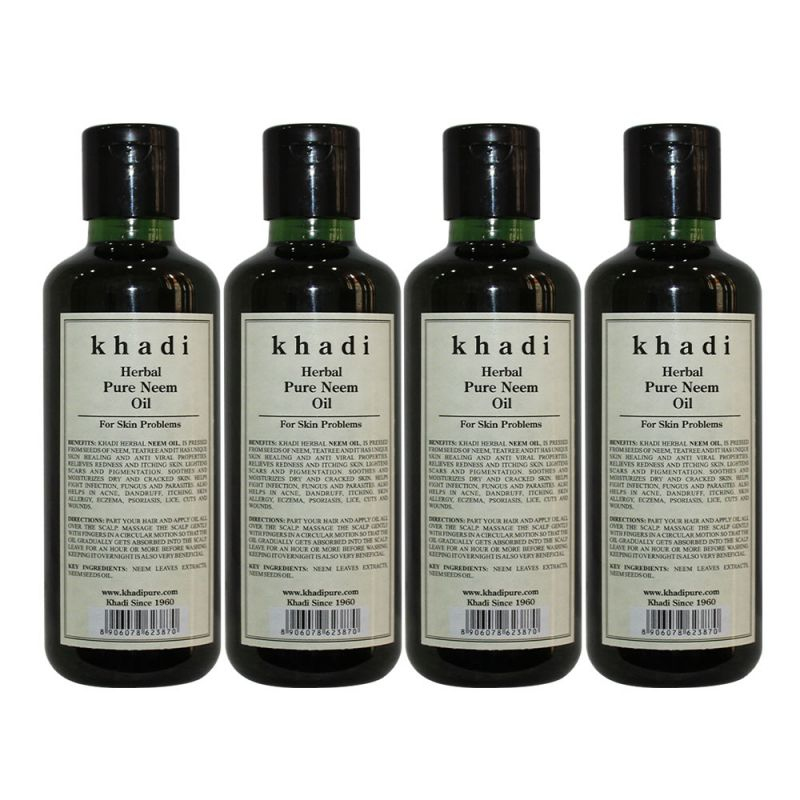 Buy Khadi Herbal Neem, Teatree & Basil Hair Oil - 210ml (set Of 4) online