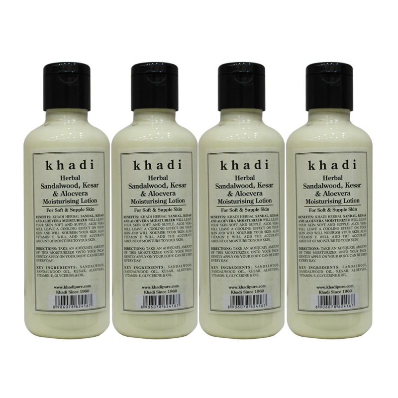 Buy Khadi Herbal Sandalwood, Kesar & Aloevera Moisturising Lotion - 210ml (set Of 4) online