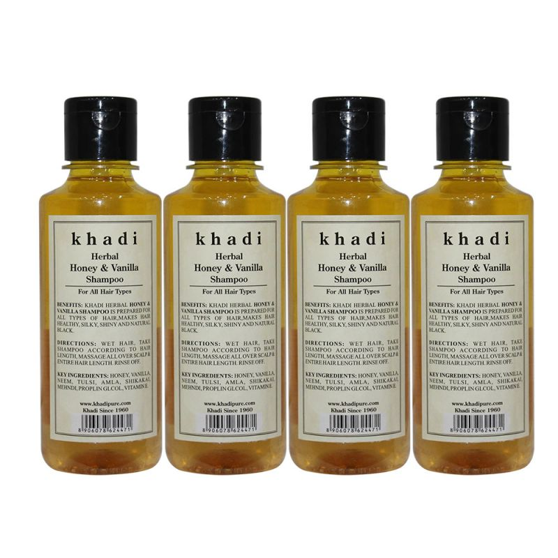 Buy Khadi Herbal Honey & Vanilla Shampoo - 210ml (set Of 4) online
