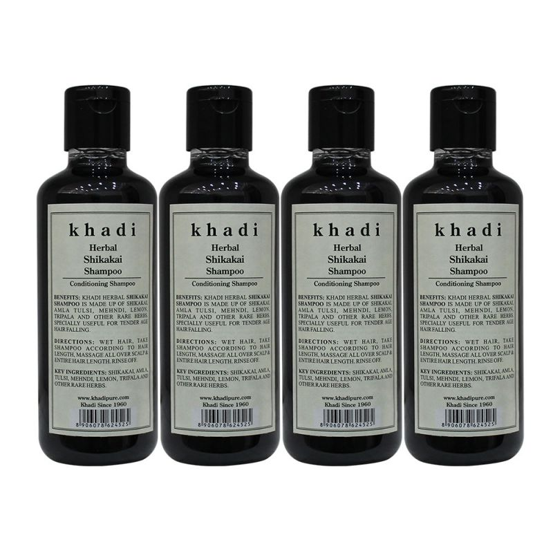 Buy Khadi Herbal Shikakai Shampoo - 210ml (set Of 4) online