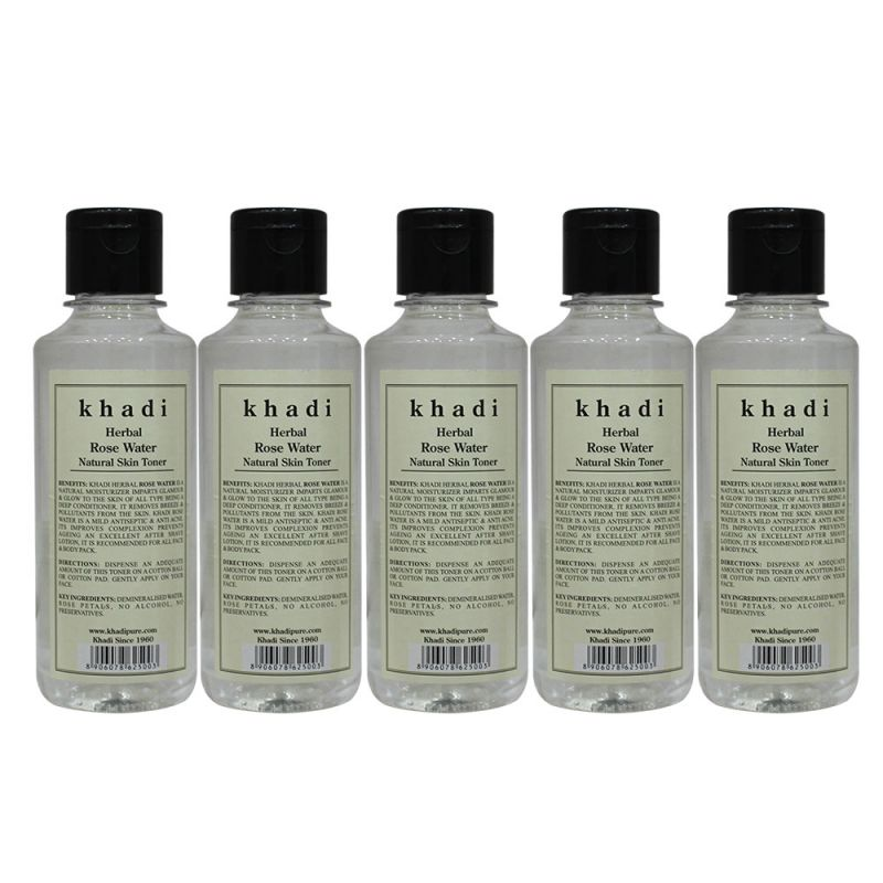 Buy Khadi Herbal Rose Water - 210ml (set Of 5) online