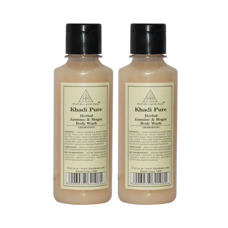 Buy Khadi Pure Herbal Jasmine & Mogra Body Wash - 210ml (set Of 2) online