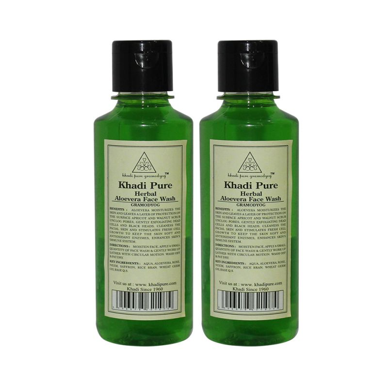 Buy Khadi Pure Herbal Aloevera Face Wash - 210ml (set Of 2) online