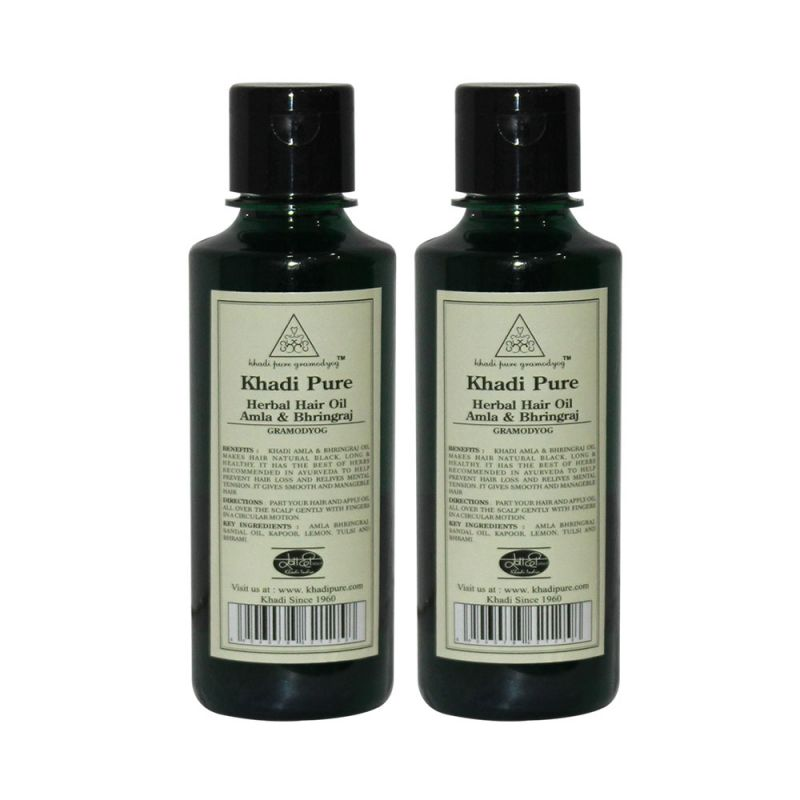 Buy Khadi Pure Herbal Amla & Bhringraj Hair Oil - 210ml (set Of 2) online