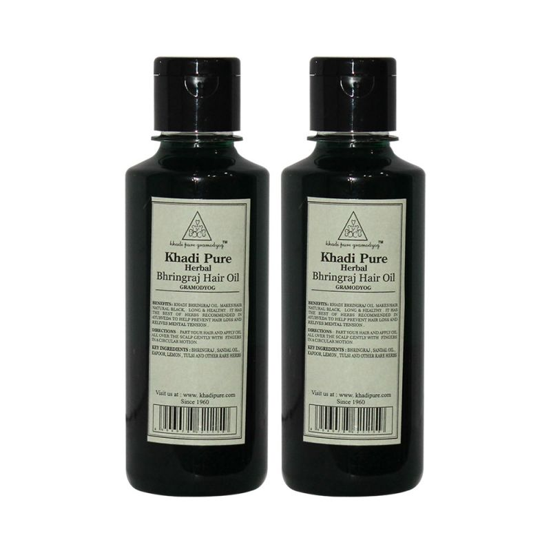 Buy Khadi Pure Herbal Bhringraj Hair Oil - 210ml (set Of 2) online