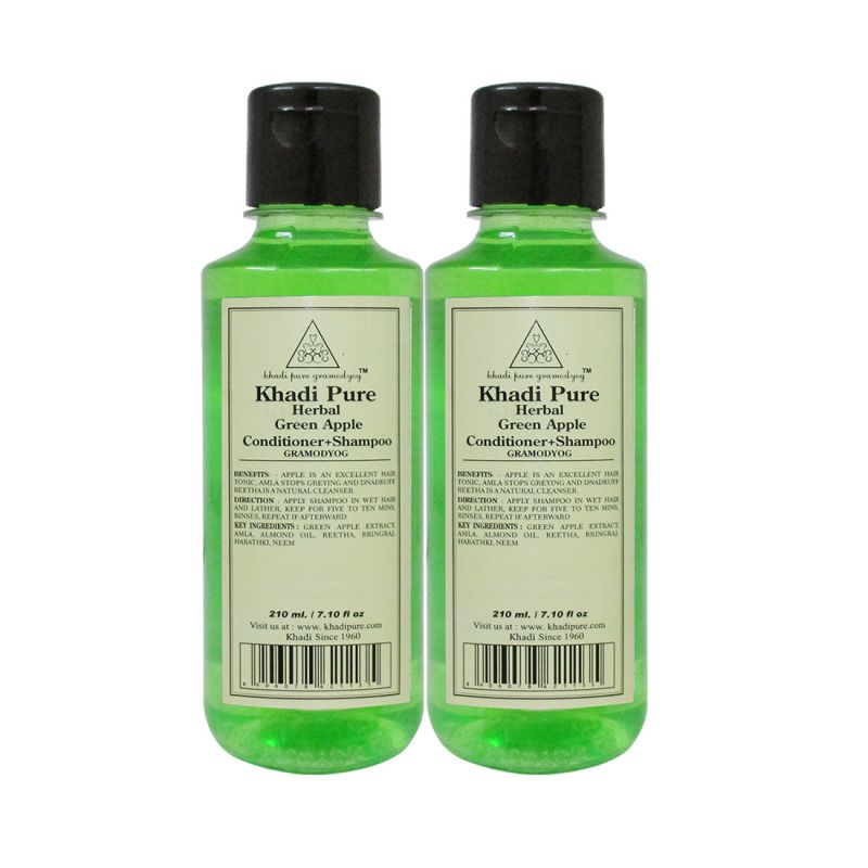 Buy Khadi Pure Herbal Green Apple Shampoo Conditioner - 210ml (set Of 2) online