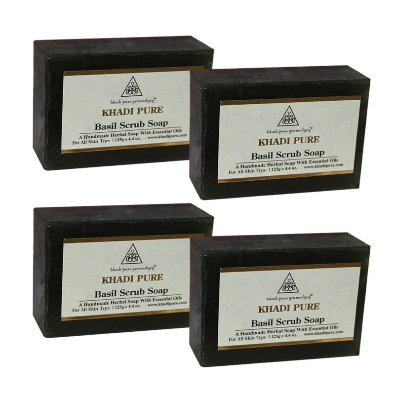 Buy Khadi Pure Herbal Basil Scrub Soap - 125g (set Of 4) online
