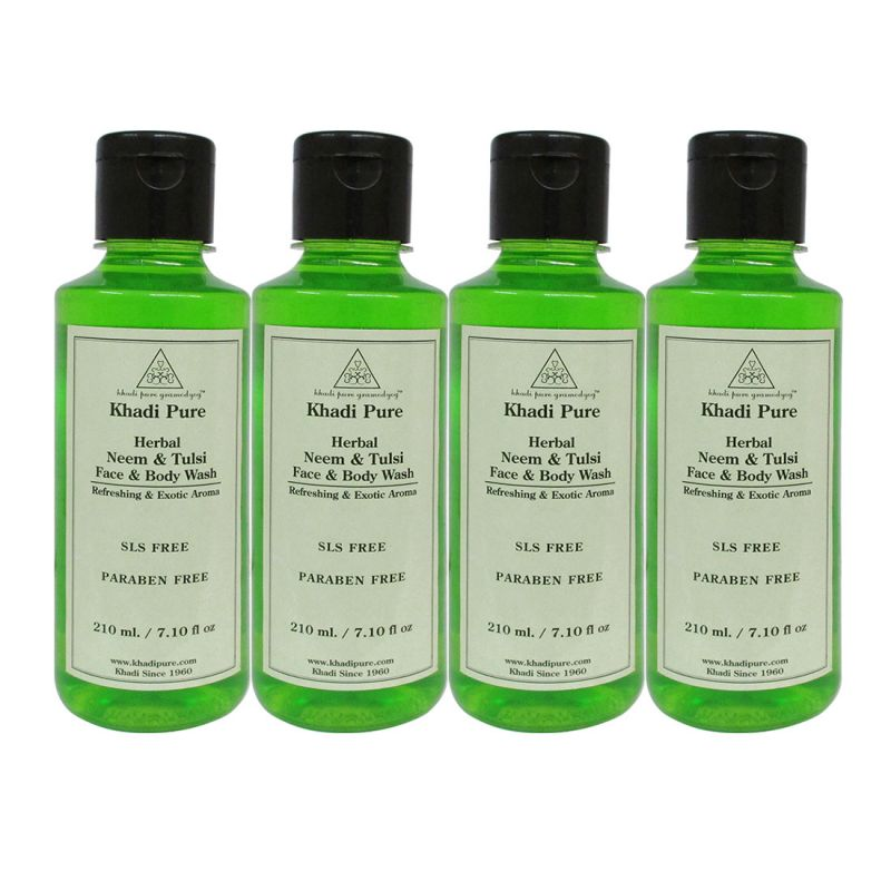 Buy Khadi Pure Herbal Neem & Tulsi Face And Body Wash Paraben Free - 210ml (set Of 4) online