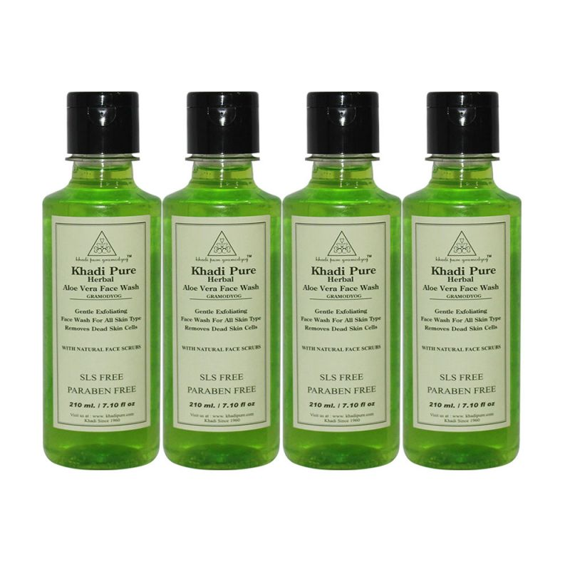 Buy Khadi Pure Herbal Aloevera Face Wash Sls-paraben Free - 210ml (set Of 4) online