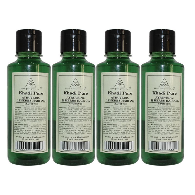 Buy Khadi Pure Herbal Ayurvedic 18 Herbs Hair Oil - 210ml (set Of 4) online