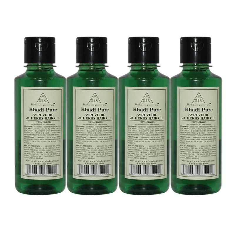 Buy Khadi Pure Herbal Ayurvedic 21 Herbs Hair Oil - 210ml (set Of 4) online