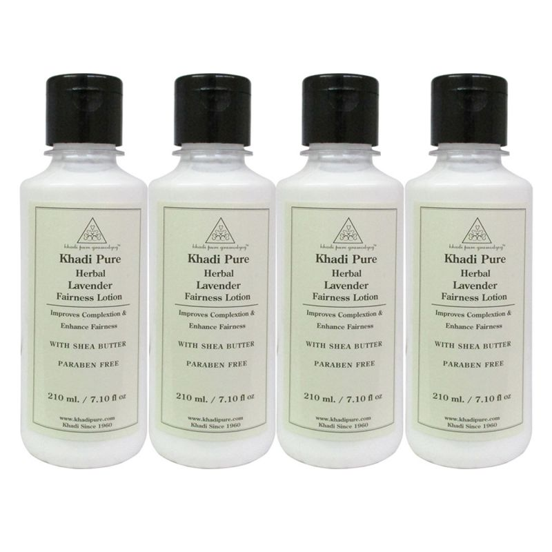 Buy Khadi Pure Herbal Lavender Fairness Lotion With Sheabutter Sls-paraben Free - 210ml (set Of 4) online