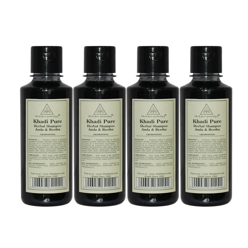 Buy Khadi Pure Herbal Amla & Reetha Shampoo - 210ml (set Of 4) online
