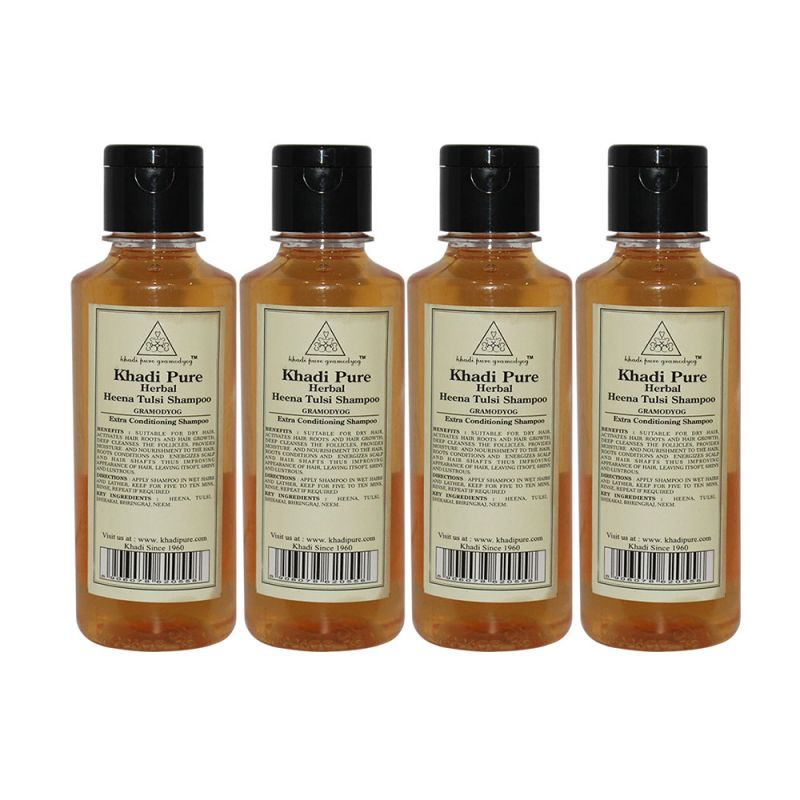 Buy Khadi Pure Herbal Henna & Tulsi With Extra Conditioning Shampoo - 210ml (set Of 4) online