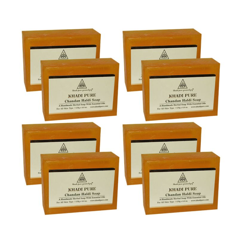 Buy Khadi Pure Herbal Chandan Haldi Soap - 125g (set Of 8) online