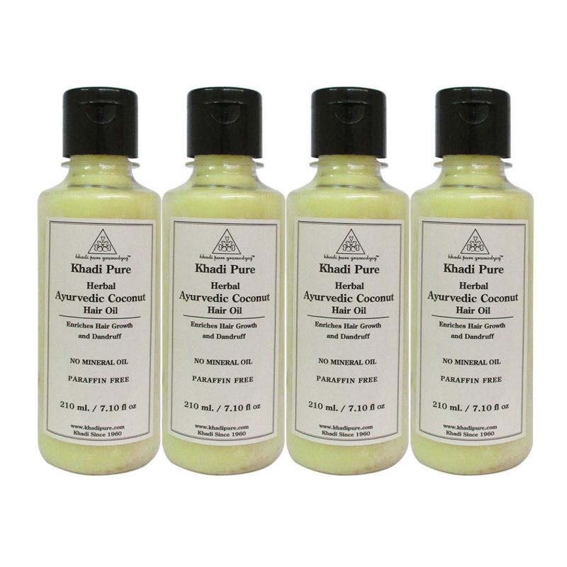 Buy Khadi Pure Herbal Ayurvedic Coconut Hair Oil - 210ml (set Of 4) online