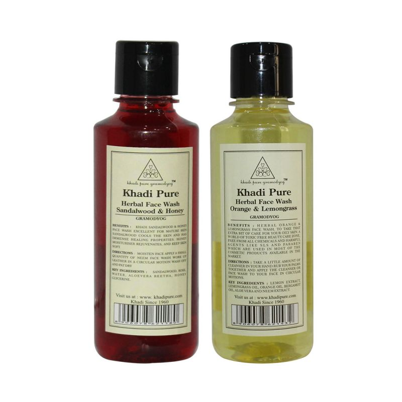 Buy Khadi Pure Andange & Lemongrass And Sandalwood & Honey Face Wash Combo (420ml) Pack 2 online