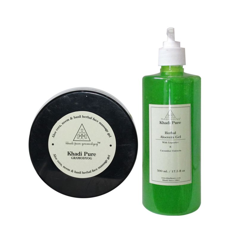Buy Khadi Pure Aloevera, Neem & Basil Facial Massage Gel And Aloevera Gel Combo (600g) Pack 2 online