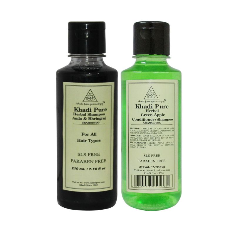 Buy Khadi Pure Amla & Bhringraj And Green Apple Shampoo Sls Free Combo (420ml) Pack 2 online
