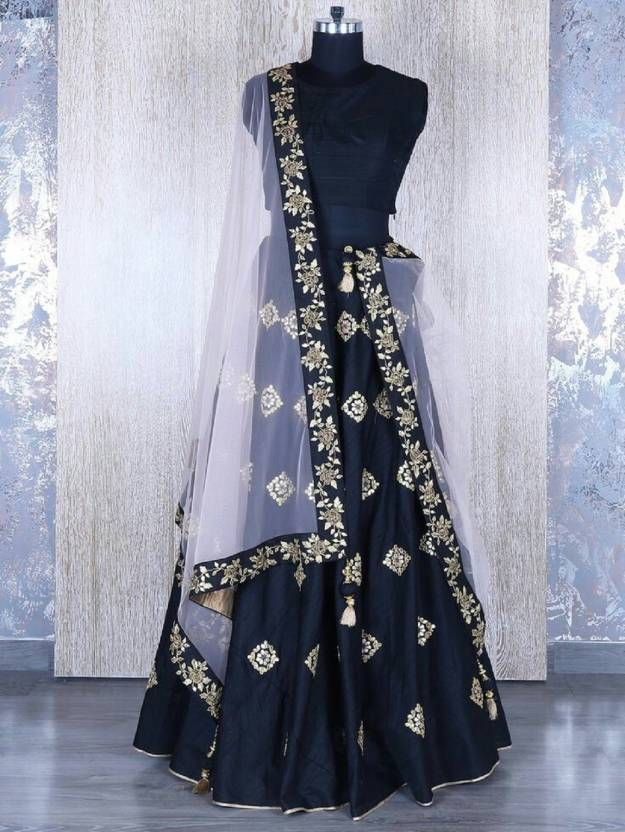 Buy New Latest Bollywood Designer Embroidered Navy Blue Party Wear Lehenga Choli online