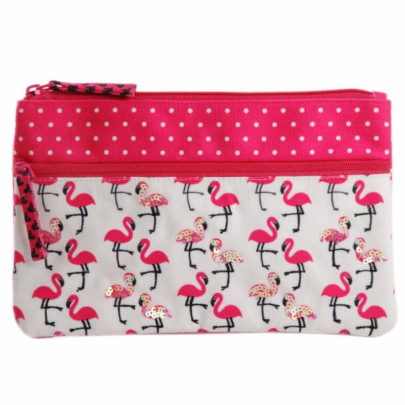 Buy Pinaken Flamingo Blush Embroidered & Embellished Two Zipper Pouch online