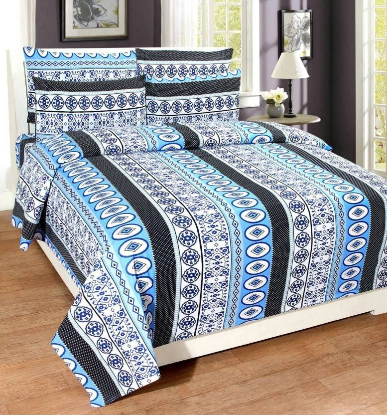 Buy Pure Cotton Double Bedsheet & 2 Pillow Covers from Panipat - Stripe Pattern online