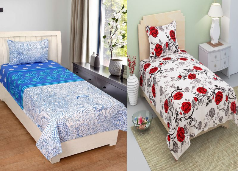 Captivating Buy Bene Cotone Single Printed Bedsheet With 1 Pillow Covers ( Set Of 2 )  Online