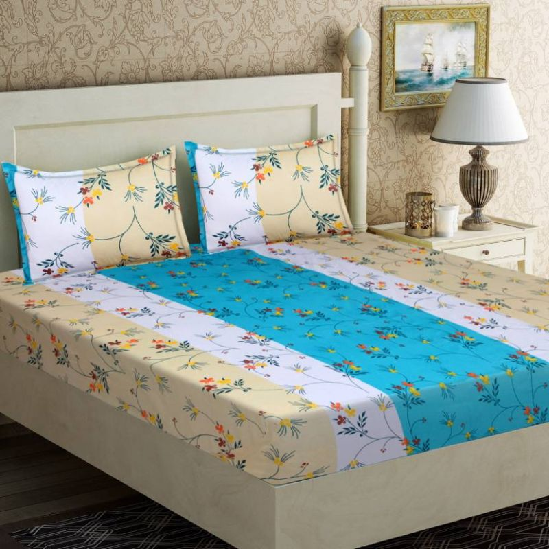 Buy Pure Cotton Double Bedsheet & 2 Pillow Covers from Panipat - White with Blue online