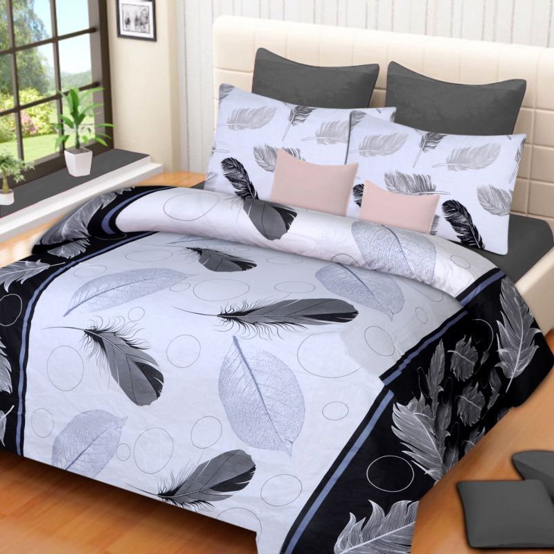 Buy Pure Cotton Printed Cotton Double Bed-Sheets With 2 Pillow Covers from Panipat - Feathers motifs online