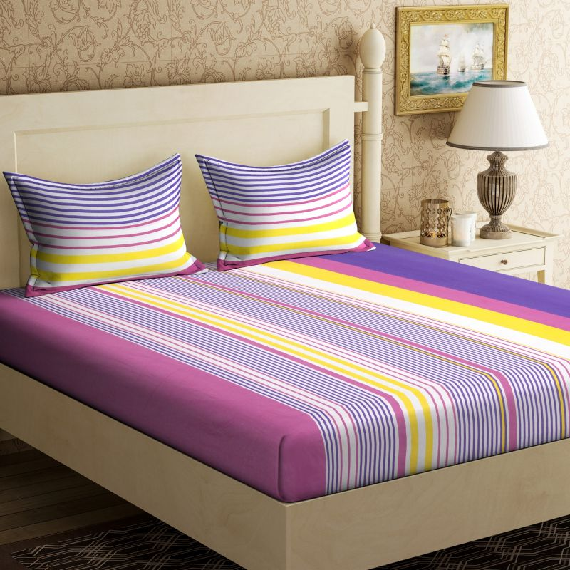 Buy Pure Cotton Double Bedsheet & 2 Pillow Covers from Panipat - Circle Pattern online