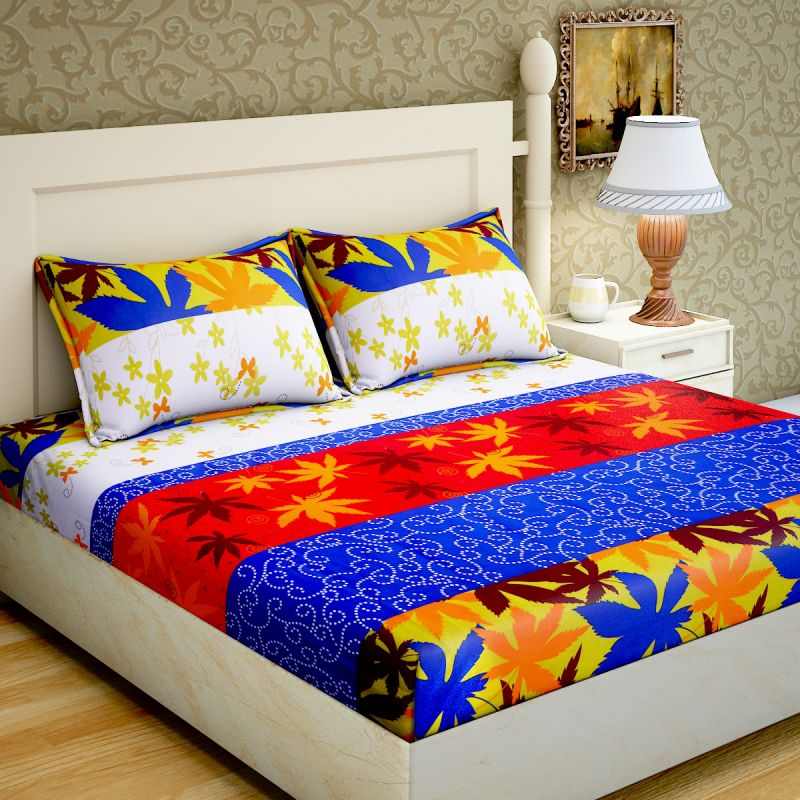 Buy Pure Cotton Printed Double Bed Sheets With 2 Pillow Covers From Panipat    Tile