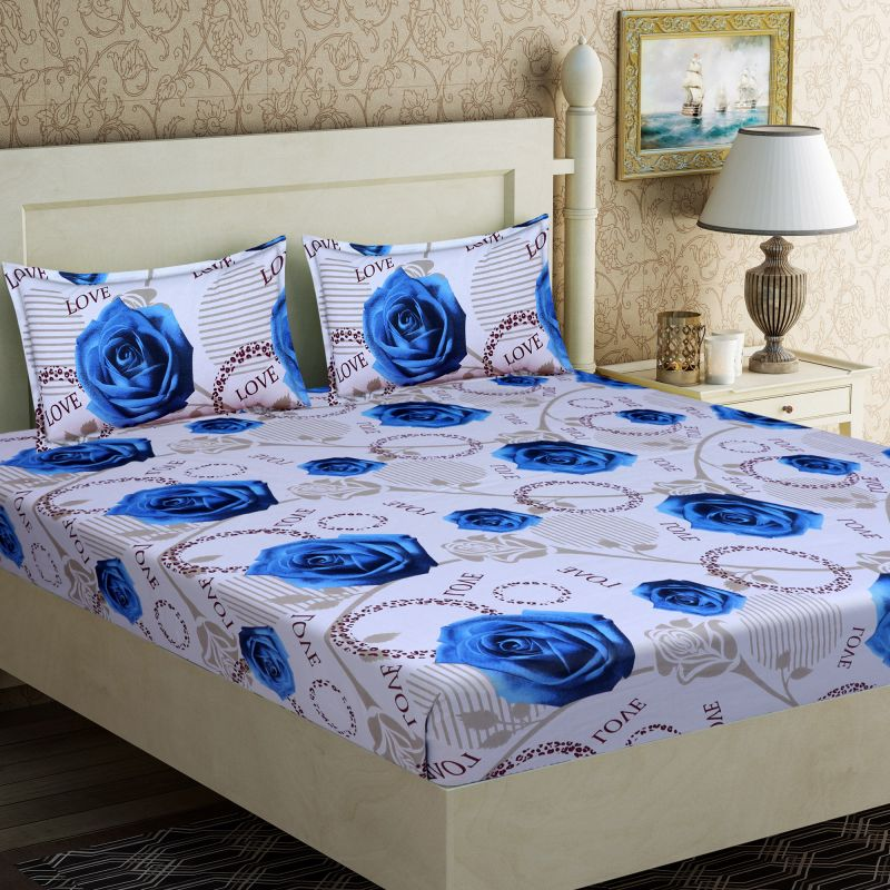 Buy Pure Cotton Double Bedsheet & 2 Pillow Covers from Panipat - Blue Flower Pattern online