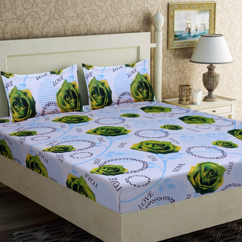 Buy Pure Cotton Double Bedsheet & 2 Pillow Covers from Panipat - Green Flower Pattern online