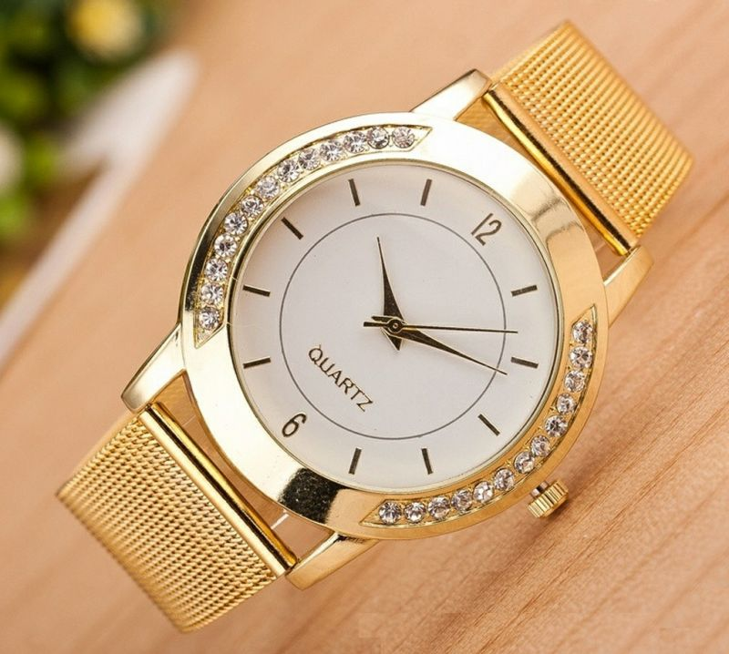 Buy Women Crystal Golden Stainless Steel Analog Quartz Wrist Watch online