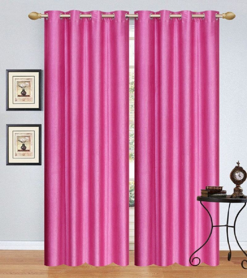 Buy Dolly Home Set Of 2 Door Eyelet Curtains Plain Pink online