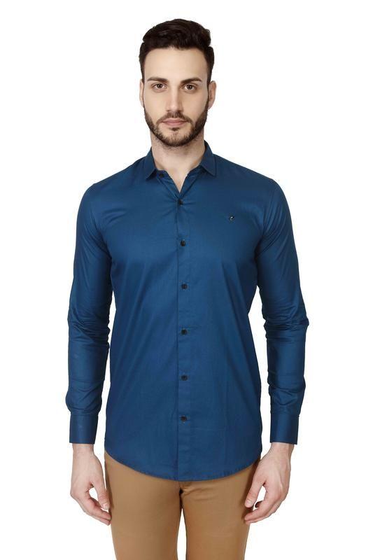 9b97123d458b Buy Mr.Stag Plain Men's Blue Colour Full Sleeves Shirt Online   Best ...