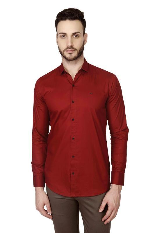 7b9b3a08e140 Buy Mr.Stag Plain Men's Maroon Colour Full Sleeves Shirt Online ...