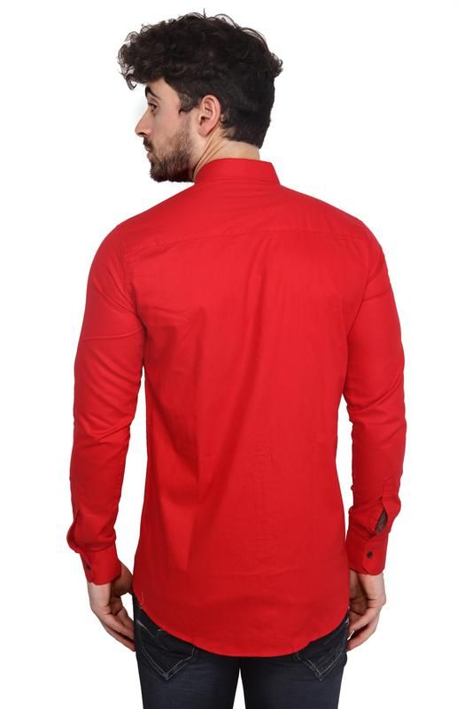 a21173c6a097 Buy Mr. Stag Plain Men's Red Colour Full Sleeves Shirt Online   Best ...