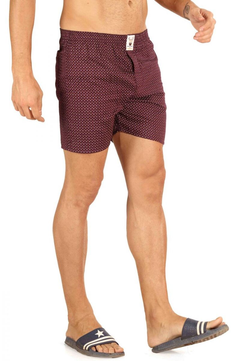 Buy Mr. Stag Men's Maroon Cotton Printed Boxer (code - Boxer 006) online