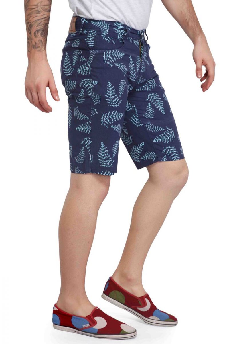 Buy Mr. Stag Men's Navy Blue Printed Cotton Shorts (code - Shorts Ng005) online