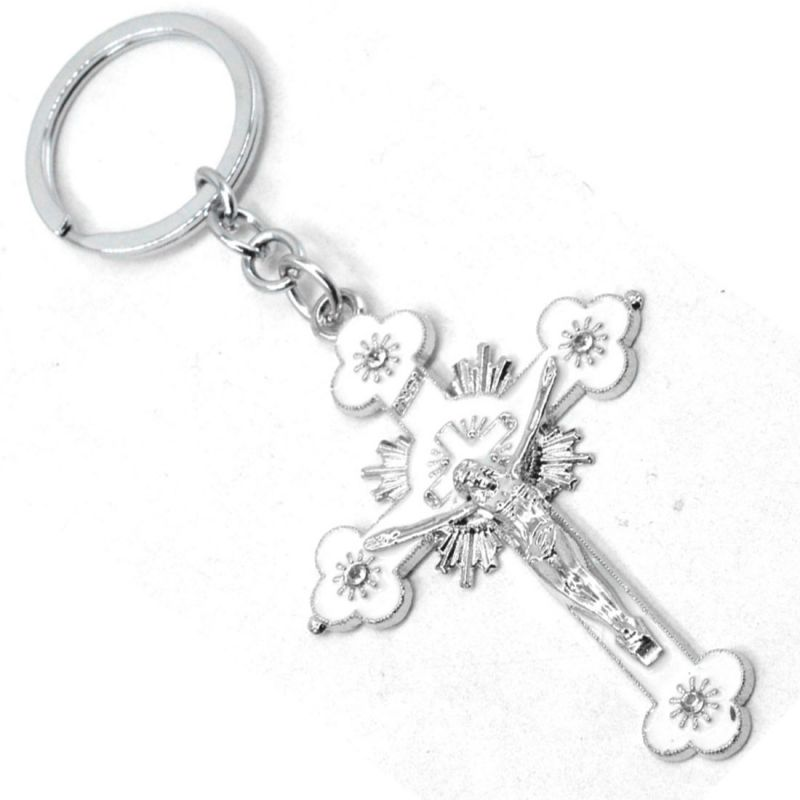 Buy Faynci Fashion White Jesus Christ Key Ring Holly Cross Key Chain