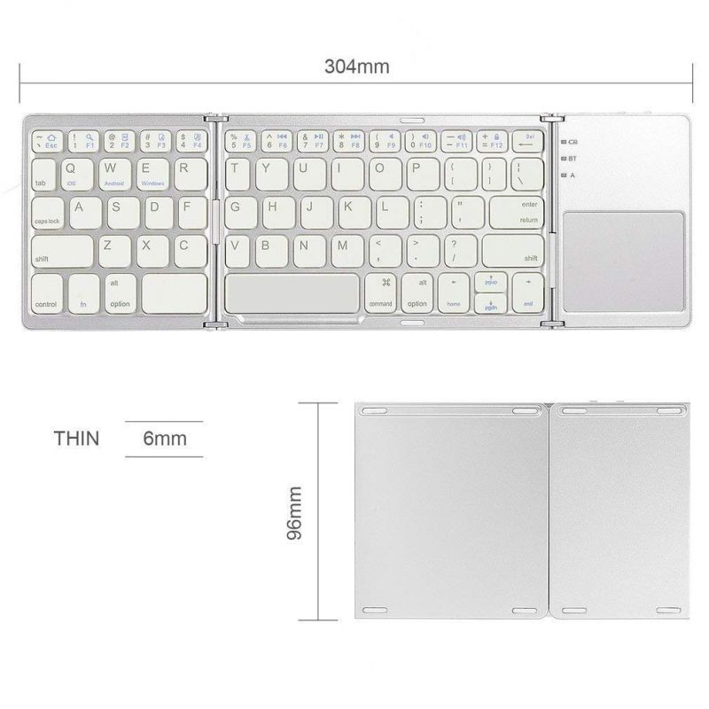 ea90a4e563a Untech Foldable Bluetooth Keyboard With Touchpad For All Devices Windows  Android Tablet Macbook Pro (white. 50%